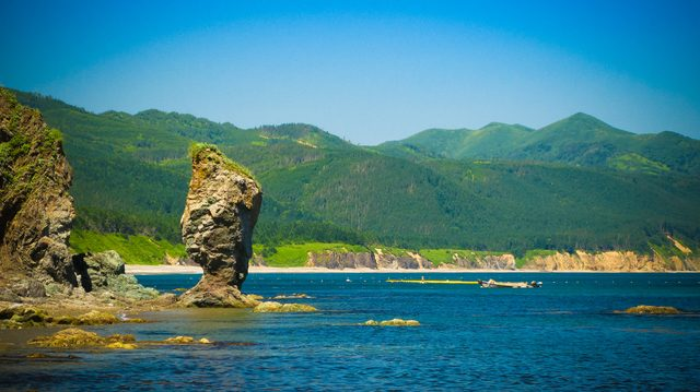 Cape Velikan, stone giant nature sculpture, Sakhalin island Russia.